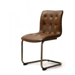 Industrial Dining Chair with Quilted Back and Seat