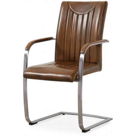 Retro Stitched Dining Chair in Faux Leather