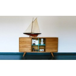 German Solid Oak Folkboat Sideboard | Black or White