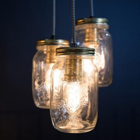 Cluster of 3 Pendant Preserve Jar Pendant Lights