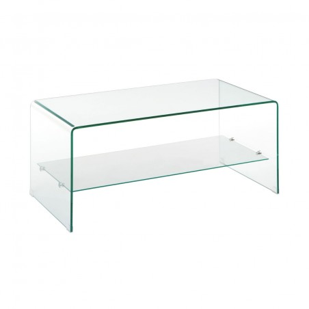 Modern 2 Tier Clear Bent Glass Coffee Table Contemporary Furniture
