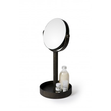 Wireworks Magnify Mirror Close-up in Dark Oak