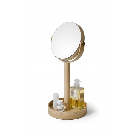 Wireworks Magnify Mirror Close-up in Natural Oak
