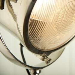 Nickel Spotlight Floor Lamp with Black Wooden Tripod