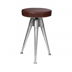 Metal Industrial Stool with Faux Leather adjustable Seat