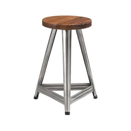 Metal Industrial Stool with Dark Brown Seat