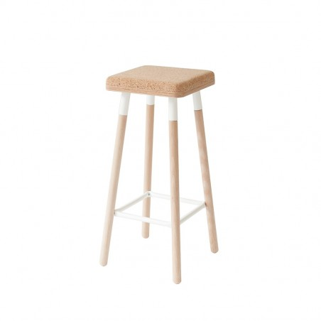 Ubikubi Marco Beech and Steel Barstool with Cork Seat - 70CM - 6 Colours