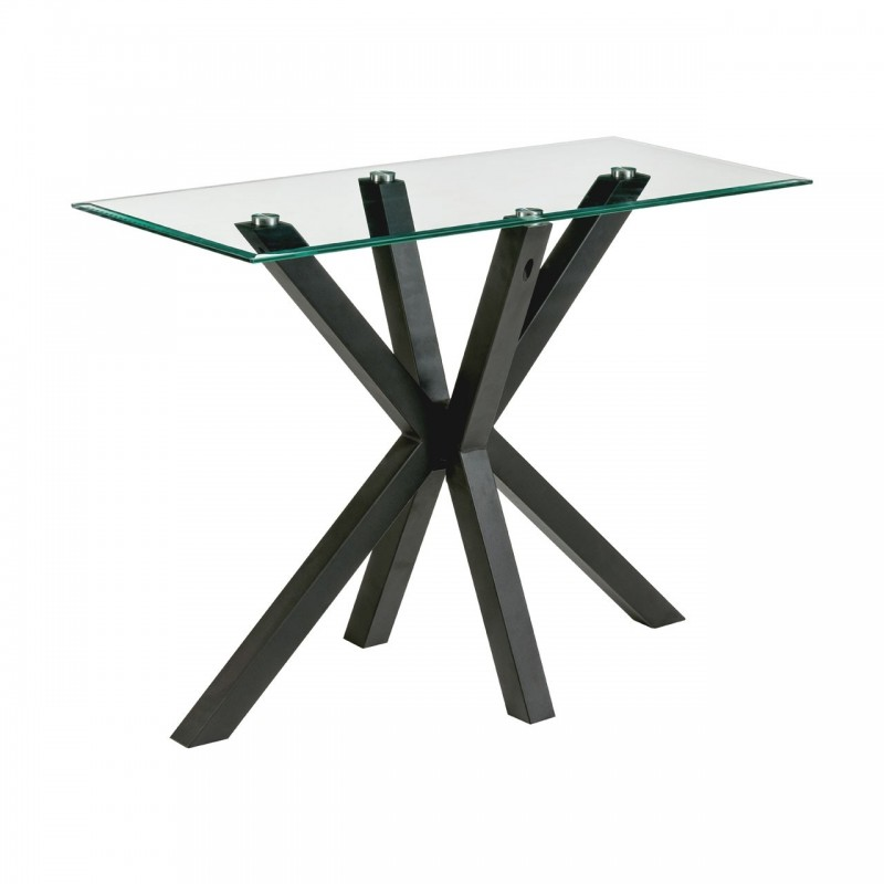 Trivium Glass and Black Metal Console Table