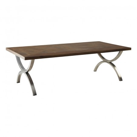 Tapio Stainless Steel Coffee Table Fir Wood Top