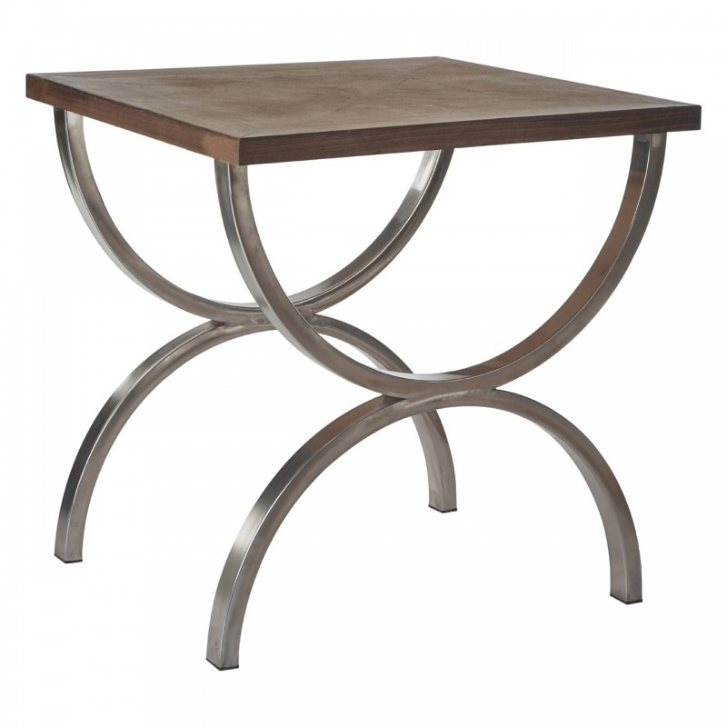 Stainless Steel Console Table with Fir Wood Top