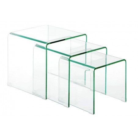 Set of 3 Momus Bent Glass Tables