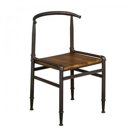 Artisan Metal Chair - Wooden Seat