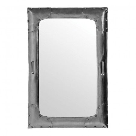 Futurist Rivetted Metal Rectangular Mirror