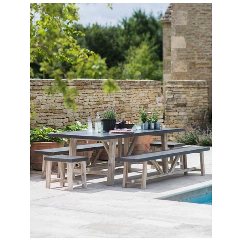 Garden Trading Chilson Table and Bench Set - Cement Fibre