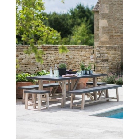 Chilson Table and Bench Set - Cement Fibre