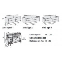 Italian Loop Sofa Bunk Beds from Pozzi
