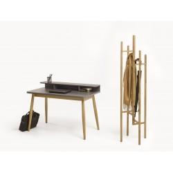 Farsta Grey Desk with Solid Natural Oak Legs