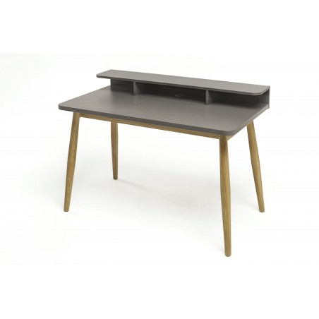 Farsta Grey Desk with Solid Natural Oak Legs
