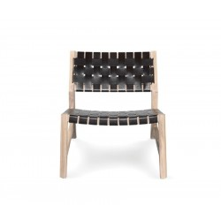 Wewood Odhin Solid Oak & Leather Lounge Chair