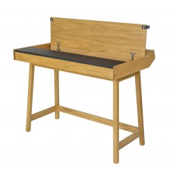 Brompton Oak & Black Leather Flap Desk