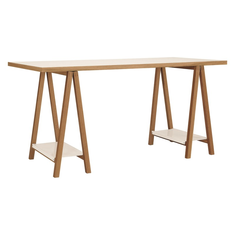Woodman Highbury Oak and Metal Trestle Table