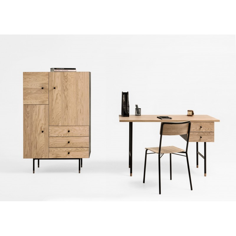 Jugend Two Drawer Desk | Oak Tipped Black Legs