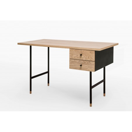 Jugend Two Drawer Desk | Oak Tipped Black Legs