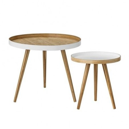Bloomingville White and Bamboo Coffee Tables - Set of Two