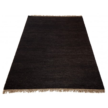 Massimo Black Sumace Hemp Rug with Fringes | 3 Sizes