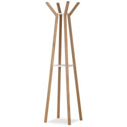 Everest Solid Oak Coat Stand with White Shelf