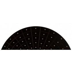 Zest Round Black Faux Leather Mirror - Chrome Studs