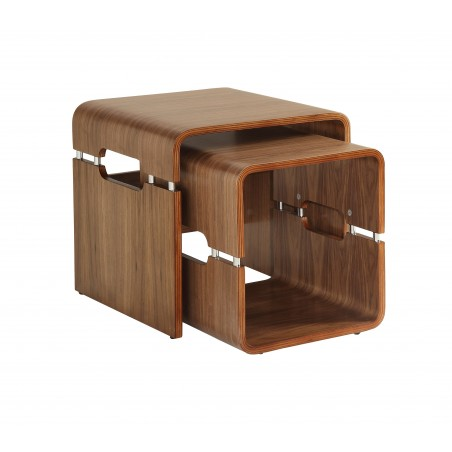 Alvar Walnut Nest of 2 Side Tables Solid Ash Legs