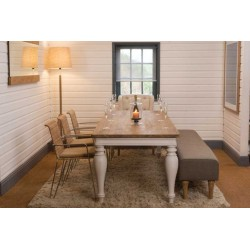 Vale Large Reclaimed Teak Dining Table Painted Legs