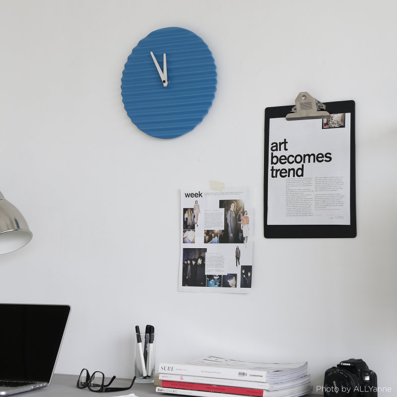 Wave Wall Clock by Sabrina Fossi Design - Cerulean Blue