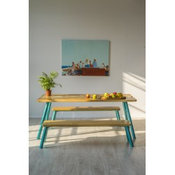 Ubikubi MyWay Oak and Blue Metal Dining Table