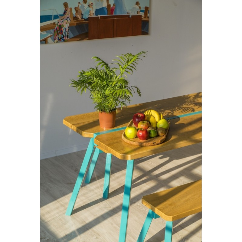 Ubikubi MyWay Oak and White Metal Dining Table