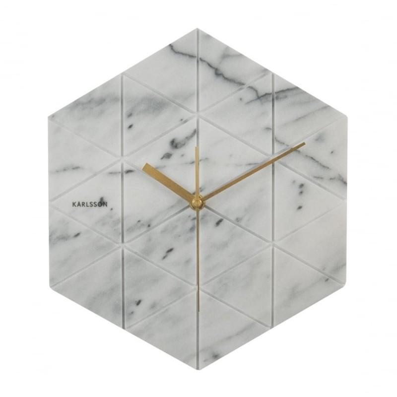 Karlsson White Marble Hexagon Wall Clock