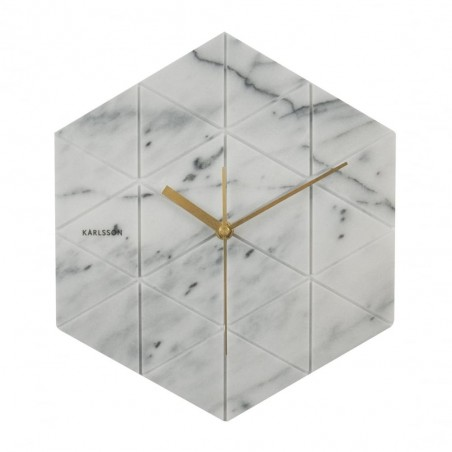 Karlsson White Marble Hexagon Wall Clock