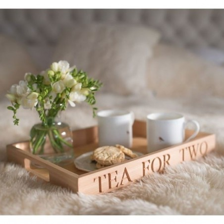 Beech Wood Serving Tray - Tea For Two
