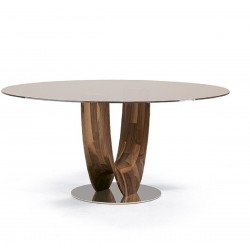 Pacini e Cappellini Axis Round Dining Table with Glass Top