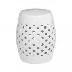 White Ceramic Drum Side Table|Stool