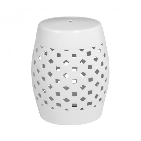 White Ceramic Drum Side Table|Stool