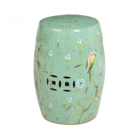 Ceramic Drum Side Table with Chinese Style Painting