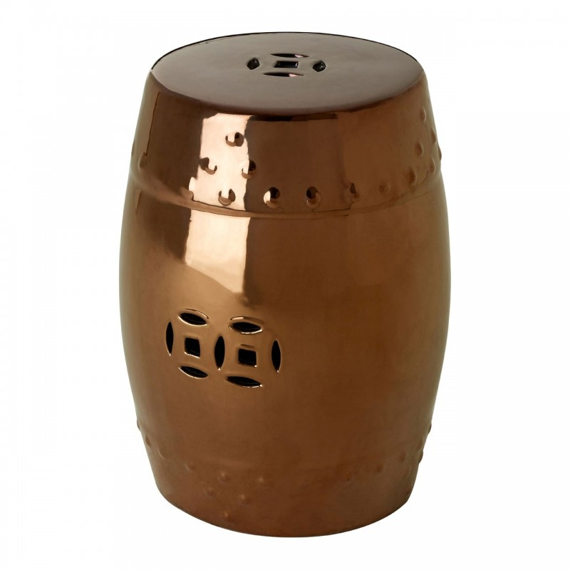 Ceramic Drum Shaped Side Table in Copper