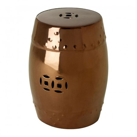 Ceramic Drum Shaped Side Table in Silver