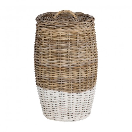 Round Laundry Basket Split Kubu Rattan|Grey White