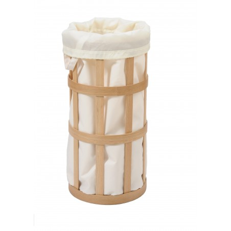 Wireworks Natural Oak Laundry Basket Cage Soft White