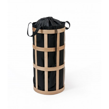 Wireworks Natural Oak Laundry Basket Cage Black