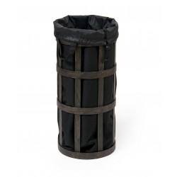 Wireworks Dark Oak Laundry Basket Cage Black