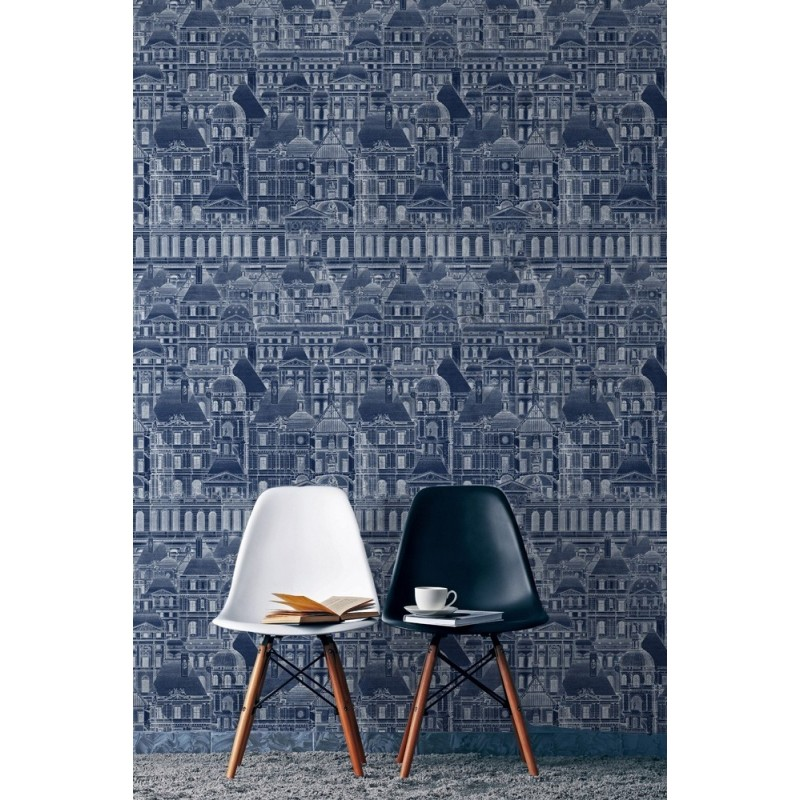 Mind the Gap Louvre Wallpaper - Blue